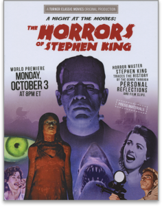 Image of movie poster for A NIGHT AT THE MOVIES: THE HORRORS OF STEPHEN KING directed by Laurent Bouzereau